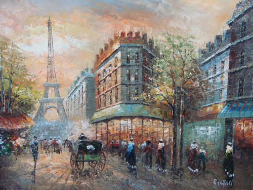 Beautiful medium sized painting, stretched but without frame, by Raspail.  The Eiffel Tower sits at the end of a Paris street filled with people and carriages.