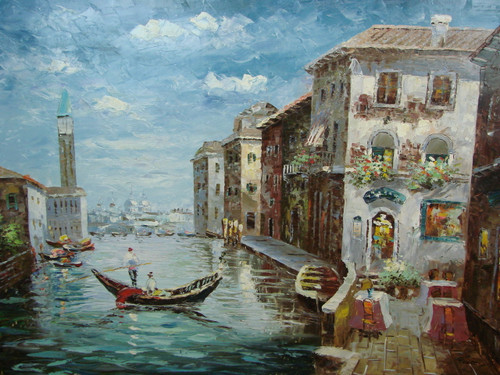 Beautiful large painting, stretched but without frame, by Scott.  A gondola navigates through a canal in Venice surrounded by tall buildings.
