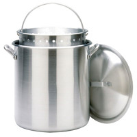 100 qt. Aluminum Stockpot with Lid & Basket - 1000