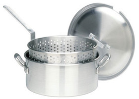 14 qt. Aluminum Deep Fryer Pot with Lid & Basket - 1350