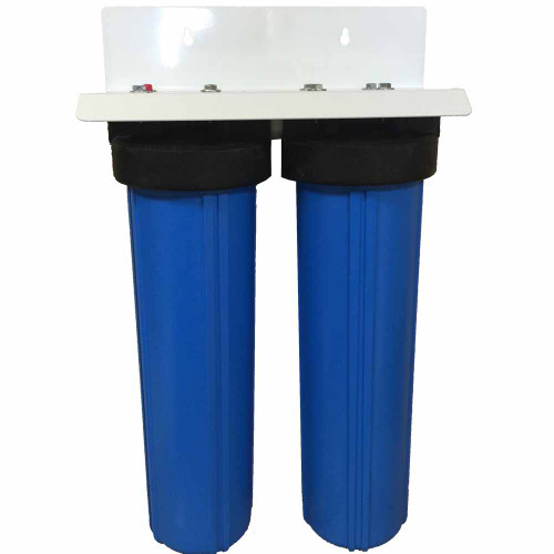 20-inch 2 Stage Big Blue Whole House Filter with Bone Char Carbon Filter - Reduces or Removes Fluoride, Radioactive Particles, and Toxic Metals