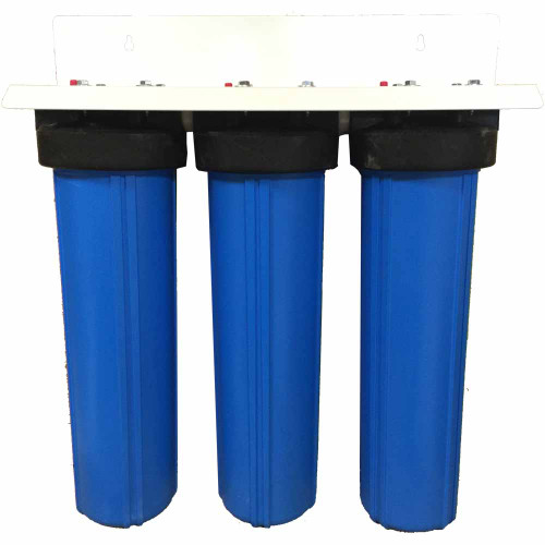 20-inch 3 Stage Big Blue Whole House for Arsenic, Fluoride, Tastes, Odors, and Chemicals-Sediment-Bone Char Carbon-Radial Flow Carbon