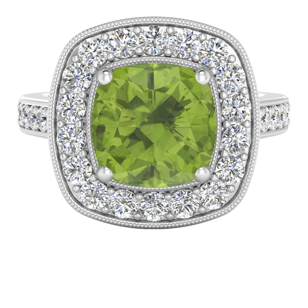 White Gold Cushion Peridot Diamond Halo Ring
