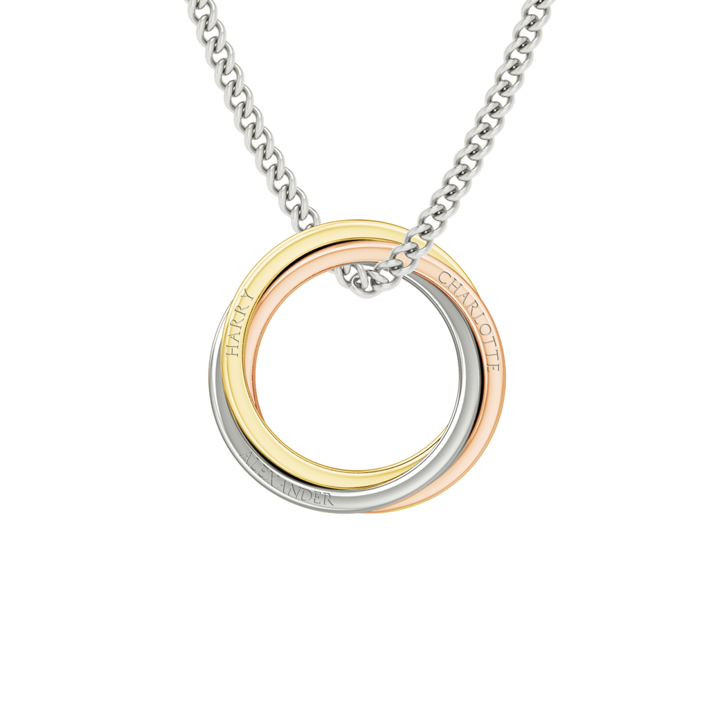 lightly solid circle necklace karma rings gold pendant hammered interlocking