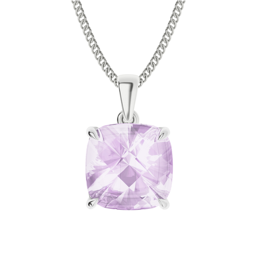 Pink Amethyst Sterling Silver Necklace
