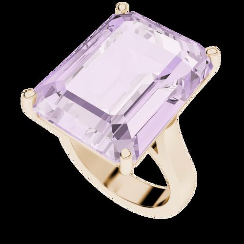 Emerald Cut Pink Amethyst 9ct Rose Gold Gemstone Cocktail Ring