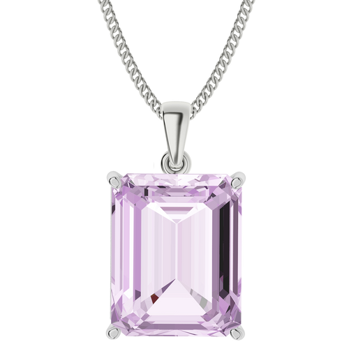 Emerald Cut Pink Amethyst Sterling Silver Necklace