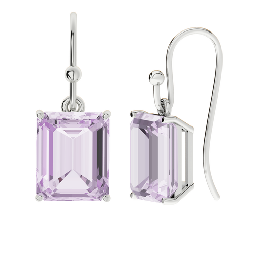 Pink Amethyst Sterling Silver Drop Earrings