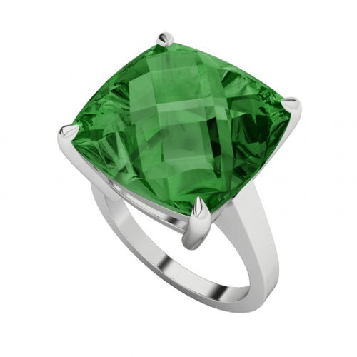 Emerald Checkerboard 9ct White Gold Ring