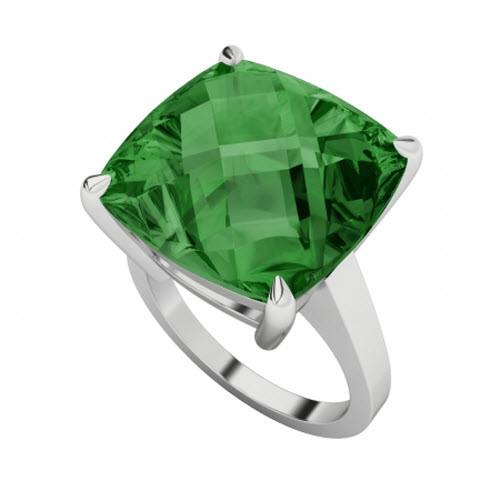 Emerald Checkerboard 9ct White Gold Ring