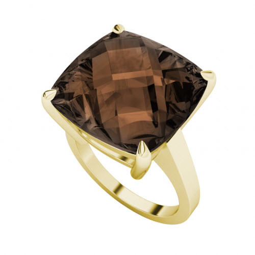 Smoky Quartz 9ct Yellow Gold Ring