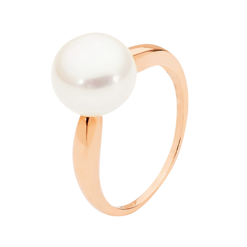 9ct Rose Gold 9mm White Button Pearl Ring