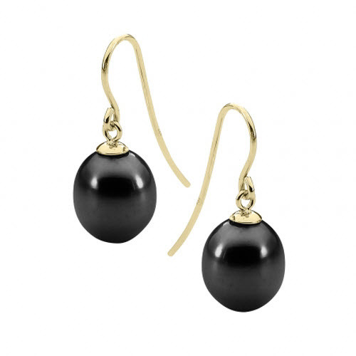 Black Pearl 9ct Yellow Gold Drop Earrings