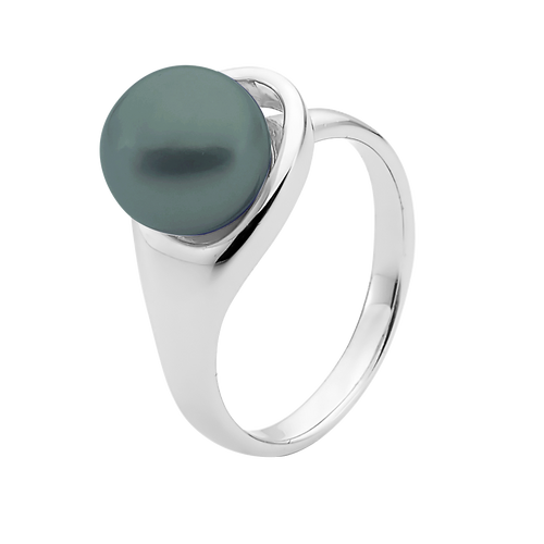 9ct White Gold Black Pearl Ring
