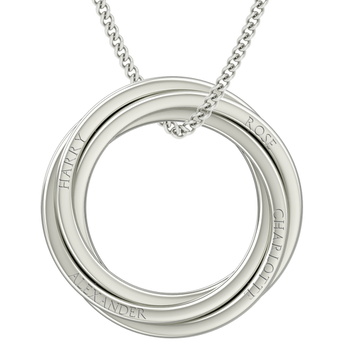 Russian Rings Necklace - the 'Catherine' - 18ct White Gold