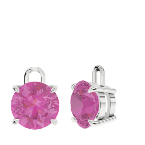 Pink Sapphire 9ct White Gold Round Brilliant Earrings - Drops Only