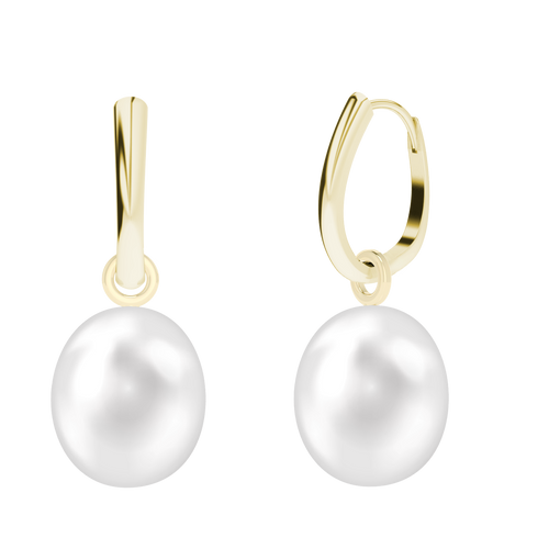 14ct Yellow Gold Drop Hoop Earrings With Detachable Pearl