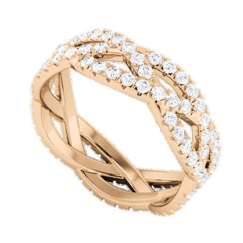 Diamond Woven Ring (Full) 9 Carat Rose Gold
