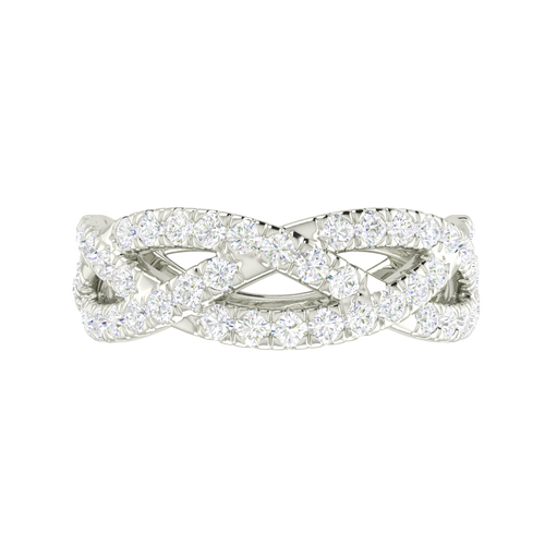 Diamond Woven Ring (Half) 9 Carat White Gold