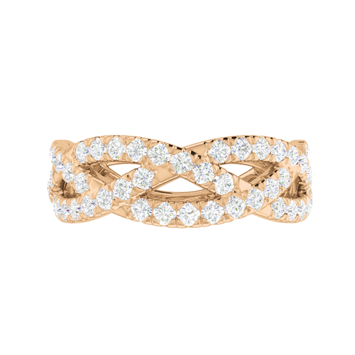 Diamond Woven Ring (Half) 9 Carat Rose Gold