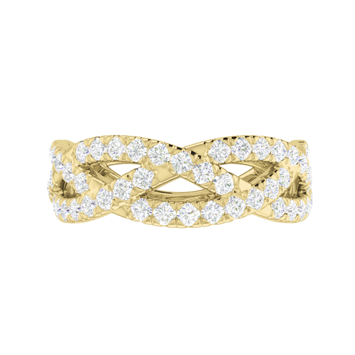 Diamond Woven Ring (Half) 9 Carat Yellow Gold