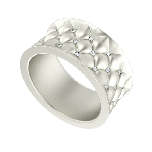 Lattice Diamond Ring 9 Carat White Gold