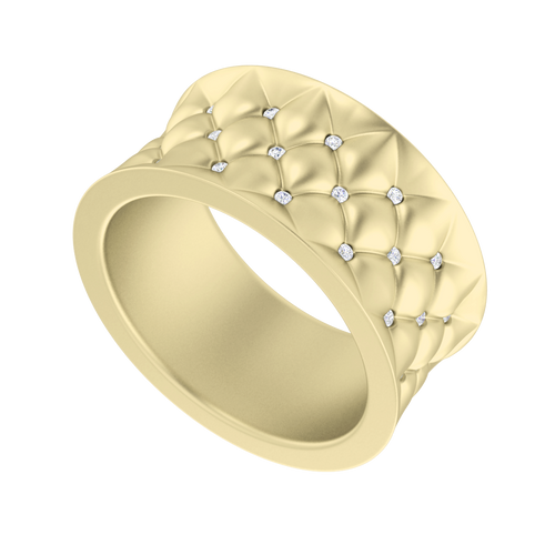 Lattice Diamond Ring 9 Carat Yellow Gold
