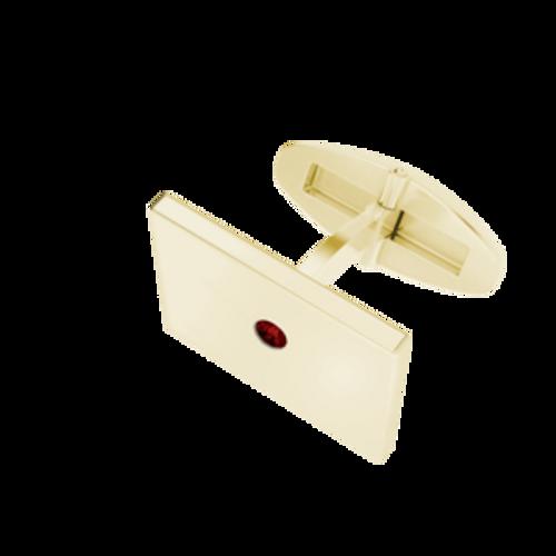 Rectangular Cufflinks Yellow Goldplate With Garnet Birthstone