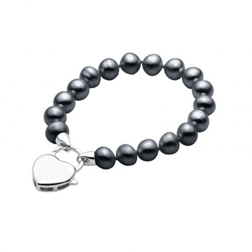 Black Pearl Bracelet with Sterling Silver Heart Clasp