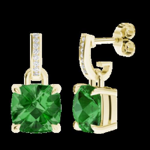 Emerald Yellow Gold and Diamond Drop Earrings