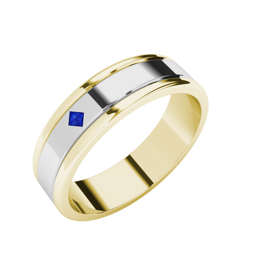 Sapphire Two-Tone Wedding Ring - 9ct White Gold with Yellow Gold