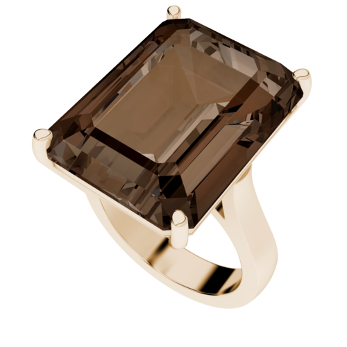 Emerald Cut Smoky Quartz Rose-plated Ring