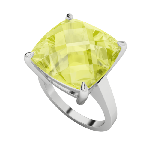 Lemon Quartz Checkerboard 9ct White Gold Ring