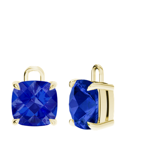 Blue Sapphire 9ct Yellow Gold Cushion Checkerboard Earrings - Drops Only
