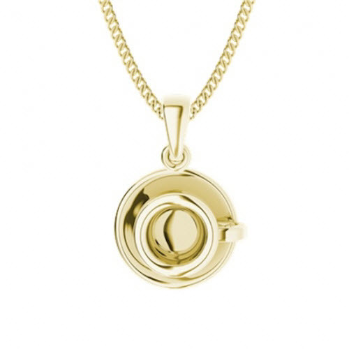 Yellow Gold-Plate Coffee Cup Necklace