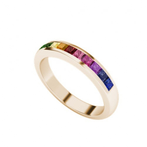 9ct Rose Gold Rainbow Ring
