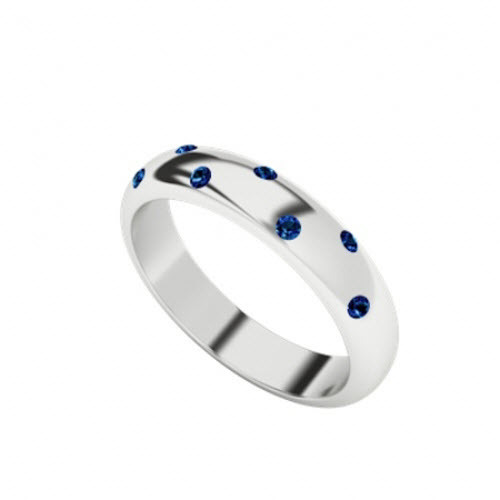 Blue Sapphire Domed Ring 9ct White Gold