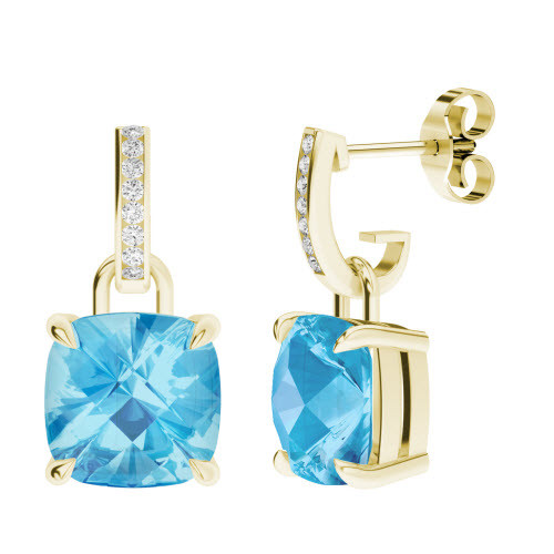 Blue Topaz 9ct Yellow Gold and Diamond Drop Earrings