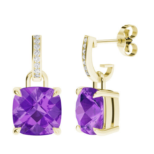 Amethyst 9ct Yellow Gold and Diamond Drop Earrings