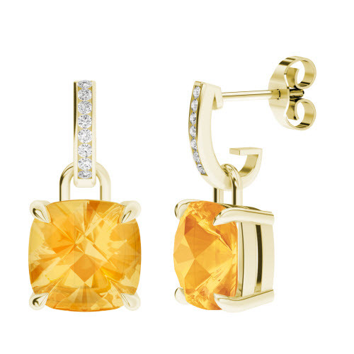 Citrine 9ct Yellow Gold and Diamond Drop Earrings