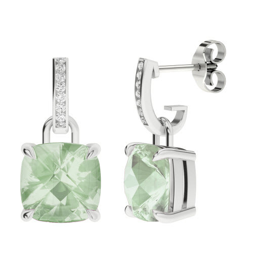 Green Amethyst 18ct White Gold and Diamond Drop Earrings