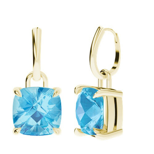 Blue Topaz 9ct Yellow Gold Drop Earrings