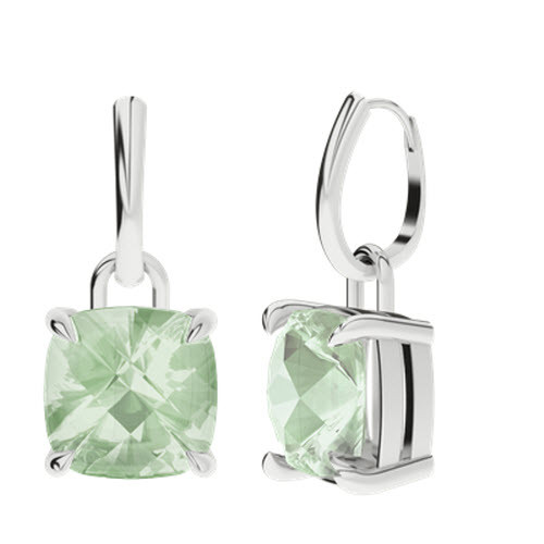 Green Amethyst White Gold Drop Earrings