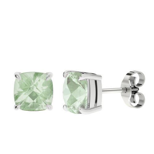 Green Amethyst Cushion Checkerboard Silver Stud Earrings
