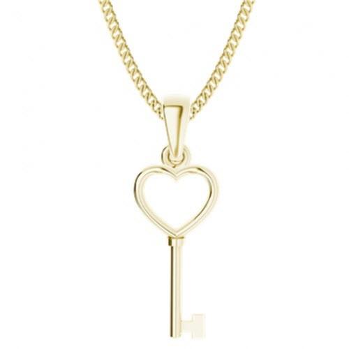 Yellow Gold-Plate Key Heart Pendant
