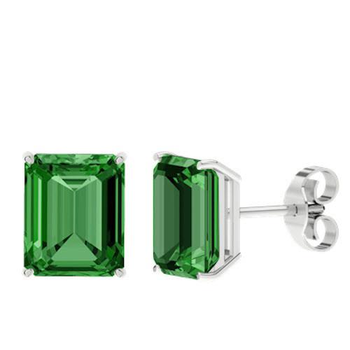 Emerald Emerald Cut Sterling Silver Stud Earrings
