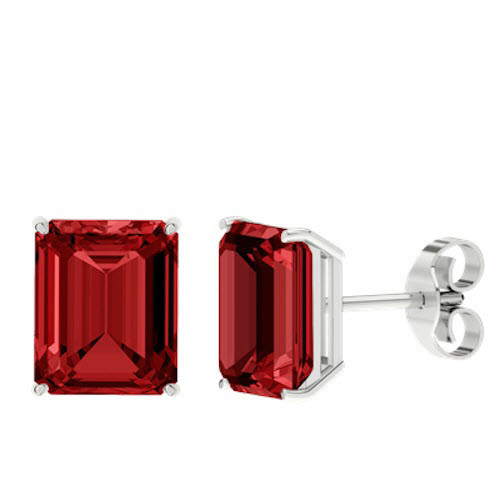 Ruby Emerald Cut Sterling Silver Stud Earrings