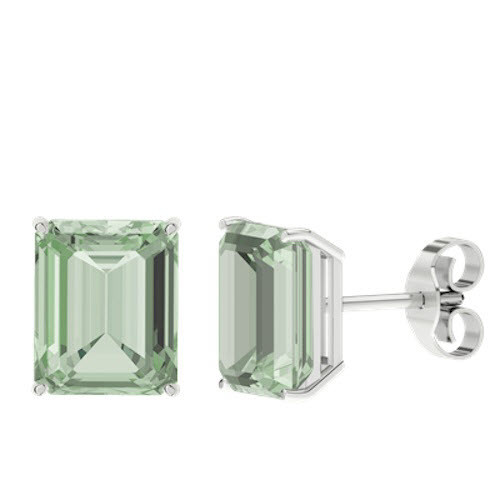 Green Amethyst Emerald Cut Sterling Silver Stud Earrings