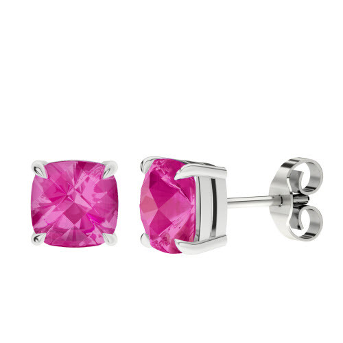 Pink Sapphire Checkerboard Silver Stud Earrings