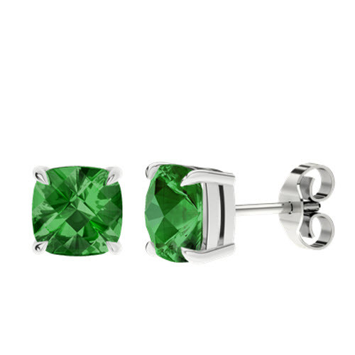 Emerald Cushion Checkerboard Silver Stud Earrings
